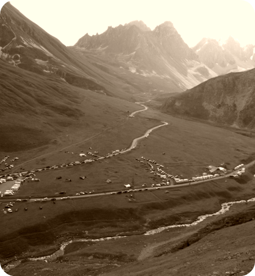 Hiking up Col du Galibier for the Tour de France
