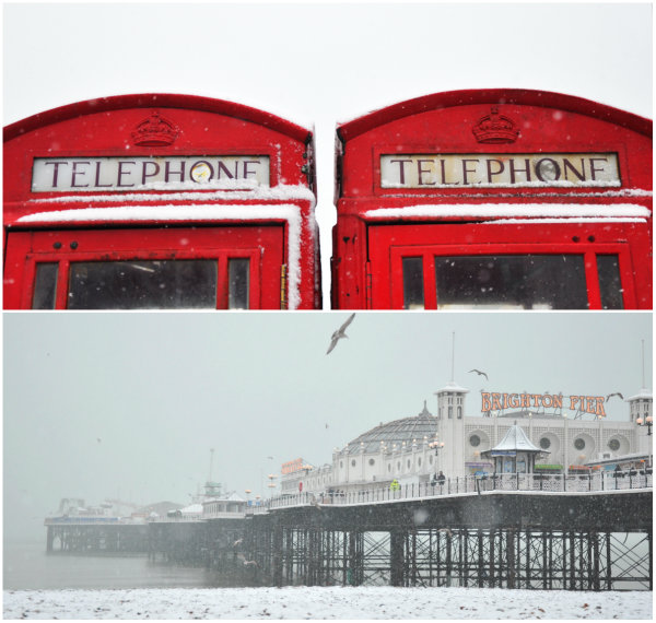 Snow in Brighton, UK