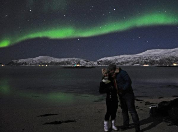 Elle Croft with the Northern Lights in Norway