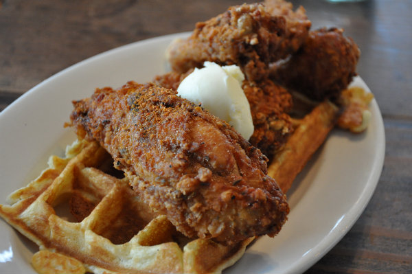 Chicken & Waffle for Breakfast at Fremont Diner, Sonoma