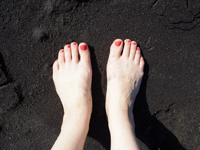 Thoughts I Had in Tenerife - Elle's toes in volcanic black sand