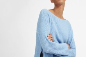 Woman in blue Everlane cashmere jumper: How to Create an Ethical Winter Wardrobe