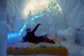 Elle Croft posing in Balea Lake Ice Hotel, Romania - What is Sleeping in an Ice Hotel Really Like?